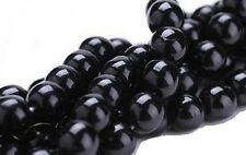 25 BLACK CZECH GLASS ROUND BEADS 10MM