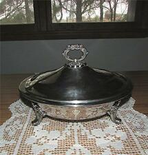 "VTG. EPCA BRISTLE SILVER BY POOLE SILVERPLATE LIDDED FOOTED 11"" CASSEROLE DISH"