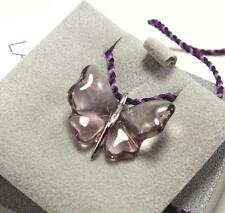 LALIQUE 925 STERLING SILVER LILAC CRYSTAL PAPILLON BUTTERFLY NECKLACE PENDANT