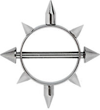 Nippelpiercing Brust Piercing Schmuck Schild Stahl mit 8 Spitzen und Titanstab
