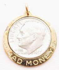 Gold Plated Mad Money Charm 90% Coin Silver Dime Unique Great Gift Free Ship e