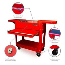 57 US PRO TOOLS TOOL CART TROLLEY WORKSTAION WORK BENCH BOX RED