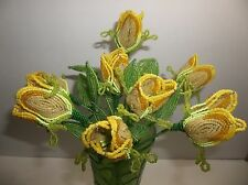 Vintage French Glass Beaded TULIPS YELLOW Flowers 4 STEMS