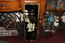 Stunning Chinese Jade Mother Of Pearl Wall Plaque Divider Panel-Man & Woman-LQQK
