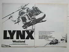 5/1977 PUB WESTLAND LYNX HELICOPTER ANTI-TANK BRITISH FORCES ORIGINAL AD