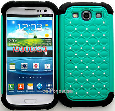 Cover Case for  Samsung Galaxy S3 L710 I535 I747 T999 Teal Bling Hybrid