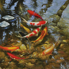 Modern sitting wall decor print oil painting Feng Shui Fish Koi Painting dw39