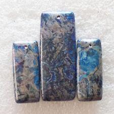 3Pcs Beautiful Blue Crazy Lace Agate Oblong Pendant Bead Set M865
