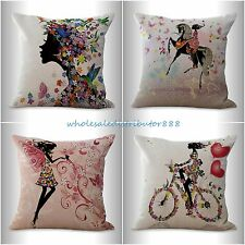 4pcs cushion covers black fairy flower girl decorative pillows for couch on sale