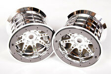 "Axial Chrome Bead-Lock BLK 8-Spoke 3.8"" 40 Truck Wheels (2) 14/17mm Hex  AX8043"