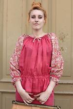 Damen leichtes Top Bluse Shirt Blumen 38 pink 70er True VINTAGE 70s women Sommer