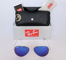 RayBan Aviator RB3025 Large Metal 112/17 MATTE GOLD/Blue Flash Mirror 58mm
