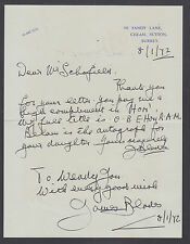 James Blades, British Percussionist recorded V for Victory Drumbeat, signed note