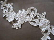 5 PAIR IVORY BRIDAL BEADED CORDED EMBROIDERY SATIN LACE APPLIQUE.