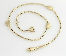 Ladies 10K Yellow Gold Ball and Bar Link Double Heart Anklet Beaded Womens 11""