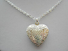 "Girls Child Heart Locket Silver Plated Photo Pendant Necklace 14"" Chain"