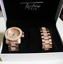 Rose Gold  Iced Out Bling Techno Pave  Rapper Style Watch/Bracelet Combo/Box