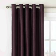 "Purple Aubergine Faux Silk Fully Lined Eyelet Curtains 90"" x 90"" inches Ring Top"
