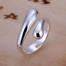 925 Sterling Silver Adjustable Fashion Teardrop Wrap / Band Finger Ring / Thumb