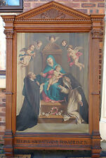 ANTIQUE CATHOLIC CHURCH OIL PAINTING - CARVED OAK FRAME - MARY JESUS & PUTTI