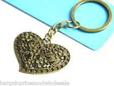 Vintage Antique Bronze Heart Flower Keyring Bag Charm Handbag Keychain