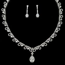 White Gold Plated Zirconia CZ Necklace Earrings Bridal Wedding Jewelry Set 00799