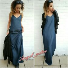 ZARA NEW DENIM BLUE MAXI DRESS SIZE XS UK 6
