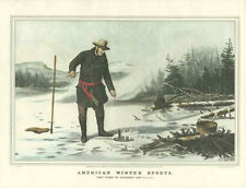 Currier & Ives Trout Fishing Chateaugay Lake Winter Pastimes 4 Lithographs
