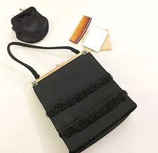 Kiss lock Bag coin purse, Comb & Mirror Twifaille Rosenfeld Black Silk brass VTG