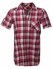 Womens Short Sleeve Plaid Shirt Ladies Check V Neck Button Front Top