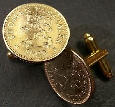 Vintage Finnish Lion w/ Sword Finland Gold Tone Bronze Coin Cufflinks + Gift Box