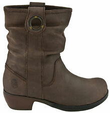 FLY LONDON MARY DESIGNER BROWN LEATHER PULL ON SLOUCH BOOTS UK 4 EUR 37 RRP £110