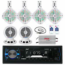 "Marine 8"" LED Speaker Set, 6.5"" Speakers,Antenna, Amplifier,Pyle Bluetooth Radio"