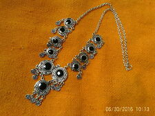 Moroccan Berber Ethnic Jewelry: Necklace Silver coloured with 11 Black 'Discs'