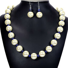 Vintage White Glass Pearl on Lapis Lazuli Necklace Sterling Silver Earrings Set