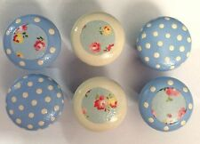 6 x Chic Handpainted & Decoupaged Cath Kidston & Polka Dot 4cm Pine Drawer Knobs