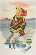 Original SWEDISH TRANS-EURO BUS LINES Travel Railroad Poster on Linen by NORDELL