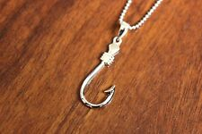 Hawaiian Jewelry Genuine 925 Sterling Silver Fish Hook Pendant Necklace SP59001