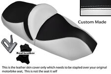 WHITE AND BLACK CUSTOM FITS PIAGGIO X9 125 250 500 DUAL LEATHER SEAT COVER