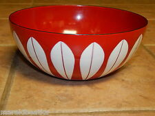 """9 1/2"""" TRUE RED  WITH WHITE LOTUS CATHERINEHOLM BOWL FROM NORWAY HTF"""