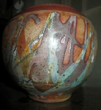 Vintage VASE Studio Pottery Signed Stoneware Pottery VASE Abstract Design