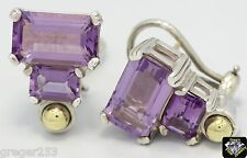 Authentic Lagos Caviar Glacier Sterling Silver & 18K Gold Amethyst Earrings