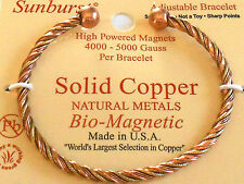 NEW SOLID COPPER Two Tone Twist Adjustable Cuff Bracelet w MAGNETS Pain relief