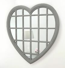 """Rossi Vintage Grey Shabby Chic Heart Window Wall Mirror 36"""" x 34"""" V Large"""