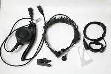 Military Throat Mic Headset Earpiece WaterProof BIG PTT For MOTOROLA radio 2 PIN