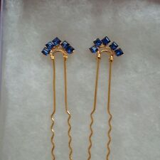 VINTAGE BLUE SQUARE SWAROVSKI CRYSTALS SET OF 2 GOLD PLATED HAIR PINS HANDMADE