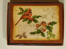 Leanin' Tree Bird and Holly Postcard Design Christmas Note Cards Box of 12