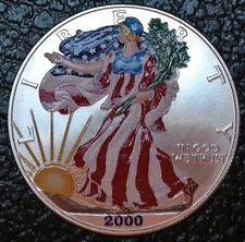 "2000 SILVER BULLION AMERICAN EAGLE COIN -.999 SILVER ""Liberty Walking""Full Color"