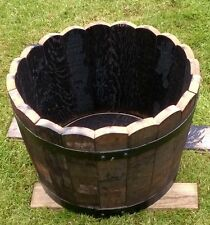 Genuine Oak half barrel planters for garden, patio,decking,lawns Wooden basket *