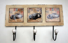 Vintage Car Hooks 3 Hook Coat Wall Rack Metal Shabby Chic Ceramic Tile Retro New